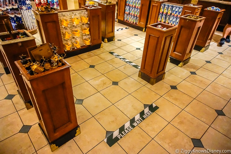 ground markers in shops at Magic Kingdom