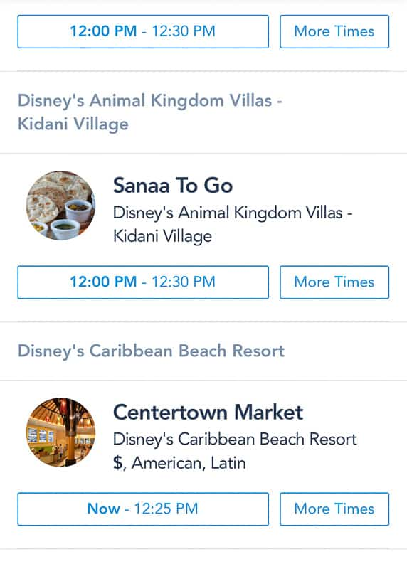 Sanaa To Go on Disney Table Service To Go