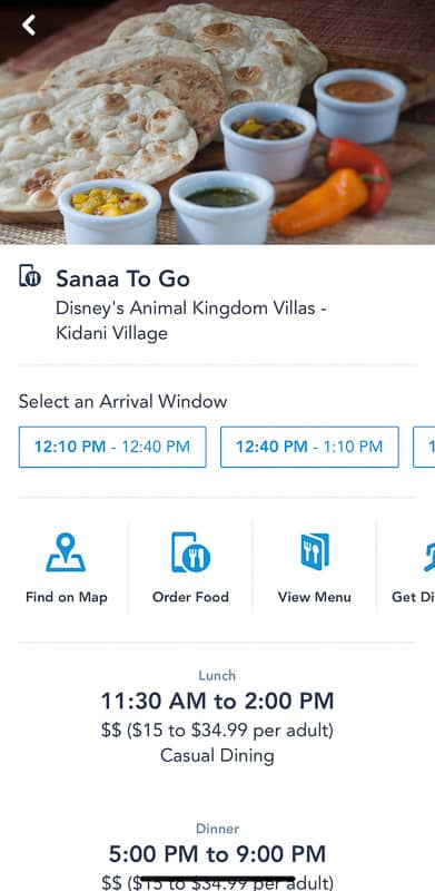 Select a restaurant on Disney Mobile Table Service To Go