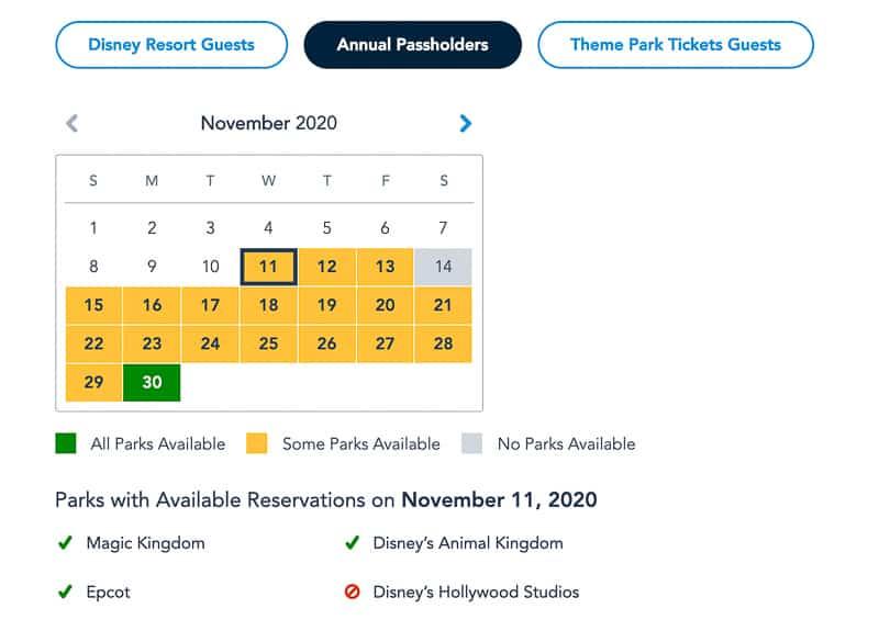 Disney Park Pass Availability Annual Passholders November