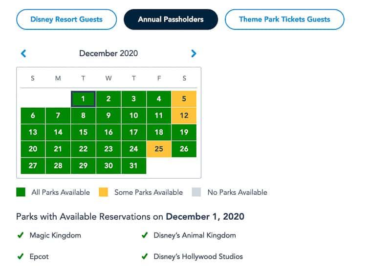 Disney Park Pass Availability Annual Passholders December