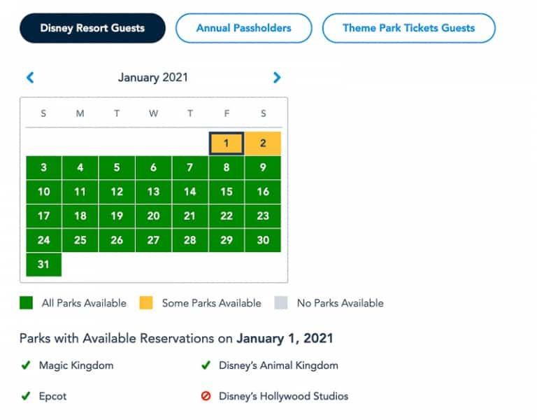 Disney Park Pass Availability Resort Guests January
