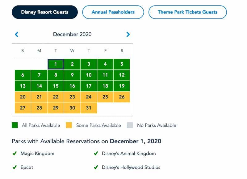 Disney Park Pass Availability Resort Guests December
