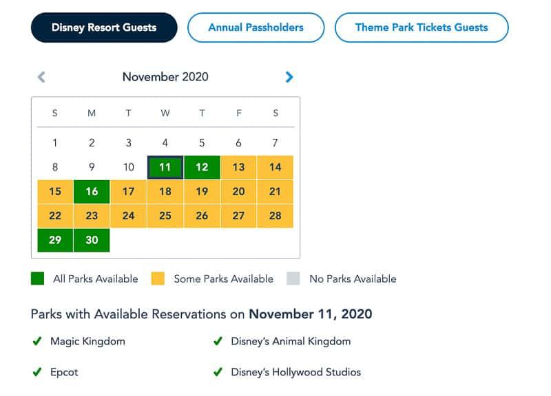 Disney Park Pass Availability Resort Guests November