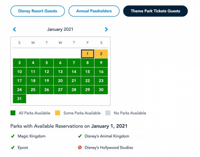 Disney Park Pass Availability Theme Park Guests January