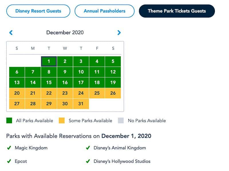 Disney Park Pass Availability Theme Park Guests December
