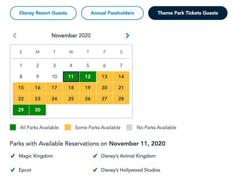 Disney Park Pass Availability Theme Park Guests November