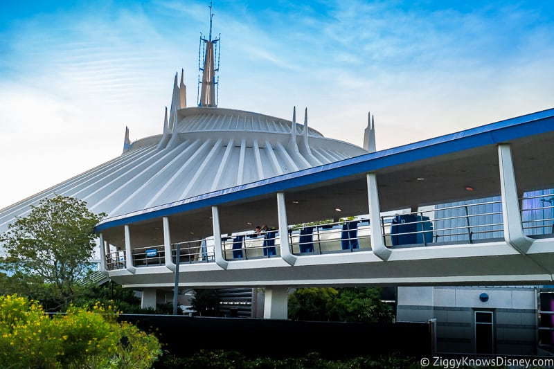 Space Mountain and PeopleMover in Tomorrowland at Magic Kingdom Park