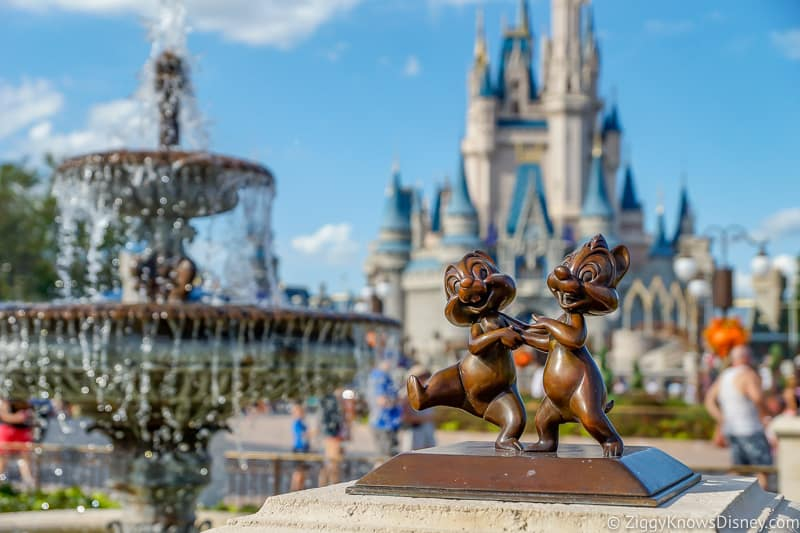 Chip and Dale in front of Cinderella Castle Disney's Magic Kingdom