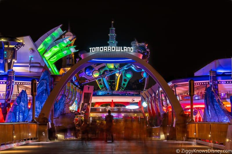 Tomorrowland Entrance at night at Disney's Magic Kingdom