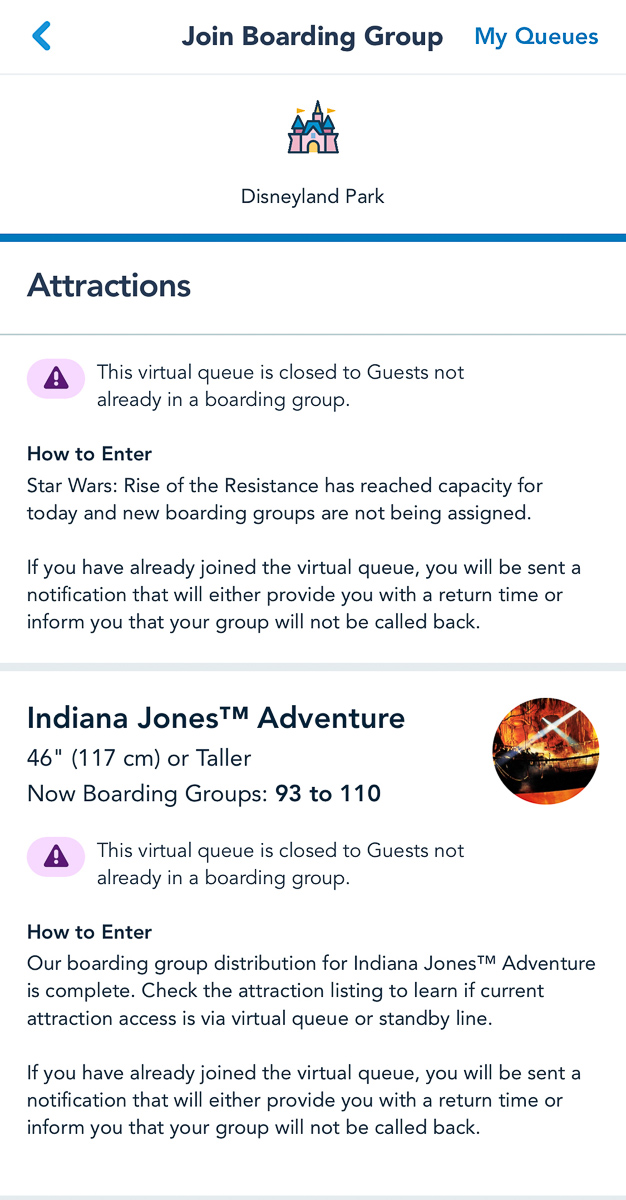 Indiana Jones Virtual Queue Disneyland