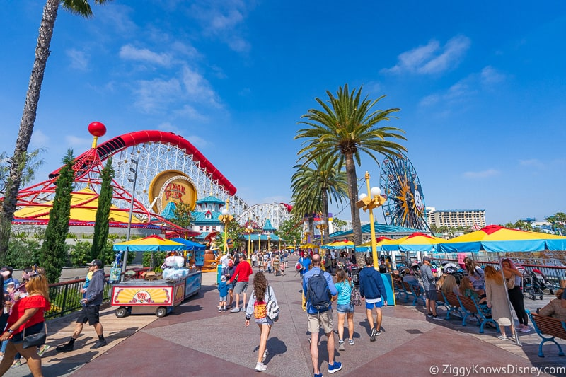 walking down Pixar Pier Disney California Adventure