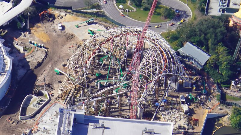 TRON Roller Coaster construction January 2021 Aerial