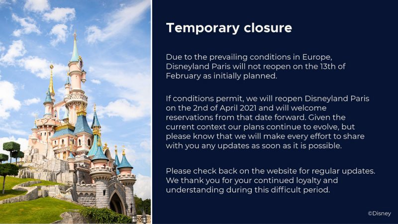 Disneyland Paris closure extended into April 2021
