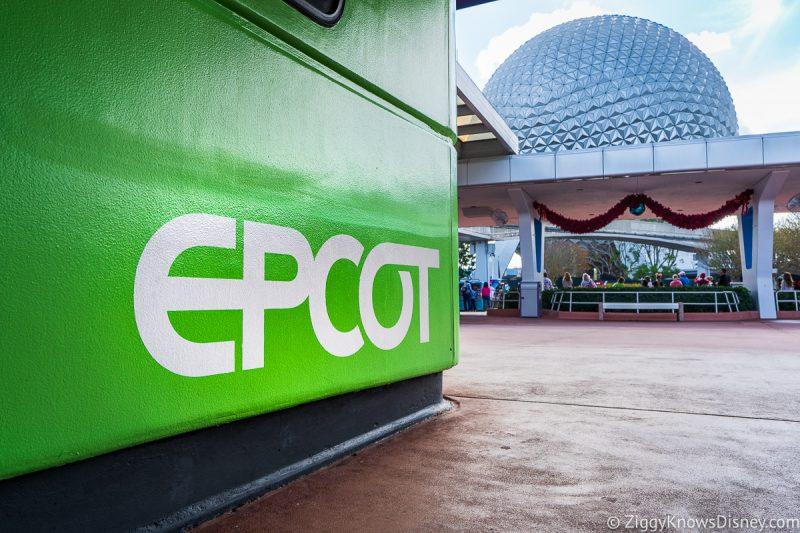 Green EPCOT sign at entrance