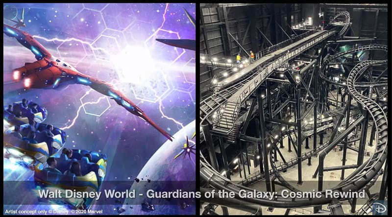 Inside of Guardians of the Galaxy Cosmic Rewind attraction building track