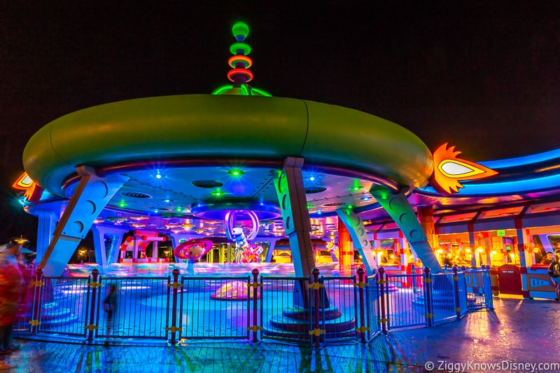 Alien Swirling Saucers at night Toy Story Land