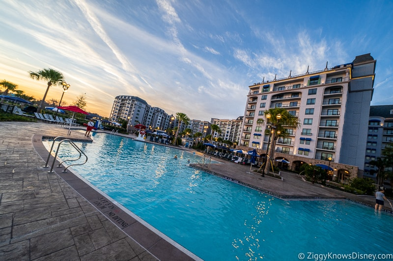 Disney Riviera Resort Pool at sunset