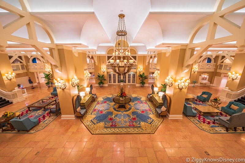 Inside Disney's Beach Club Resort lobby at night