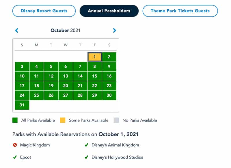 October 1 50th anniversary park pass availability