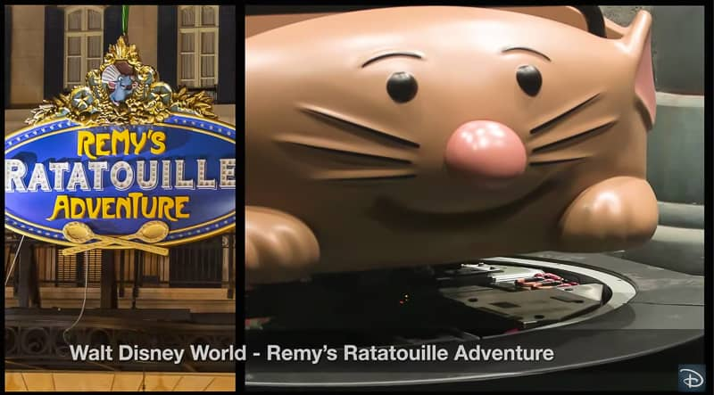 Remys Ratatouille Adventure entrance sign and vehicle