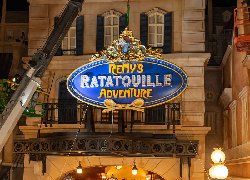 Remys Ratatouille Adventure entrance sign EPCOT