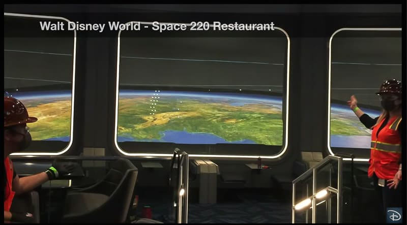 First look at Space 220 restaurant projection windows at EPCOT