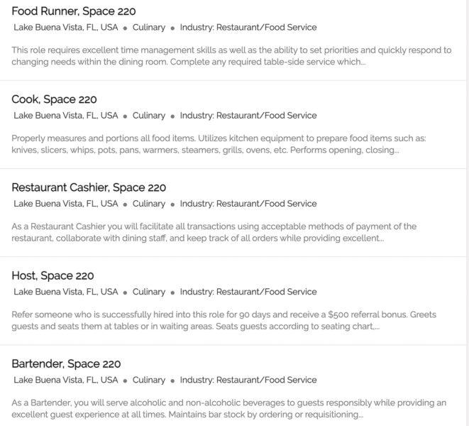 Space 220 Job Listings