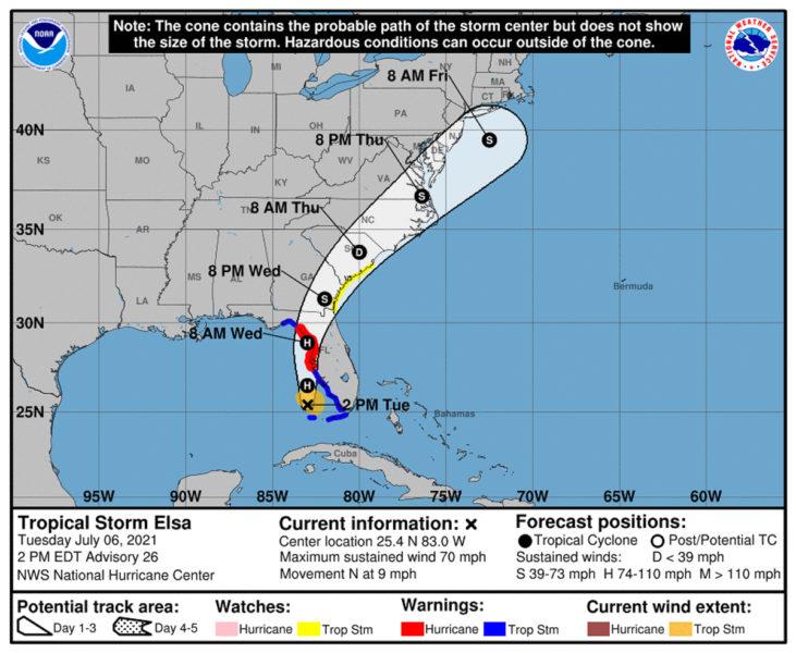 Tropical Storm Elsa path
