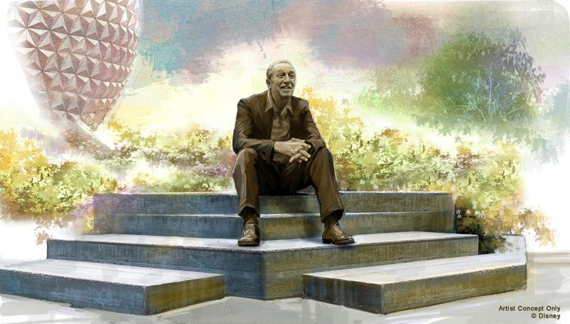 statue of Walt Disney at EPCOT Park Disney World Concept Art