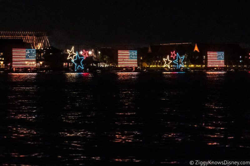 Disney World Electrical Water pageant on the Seven Seas Lagoon