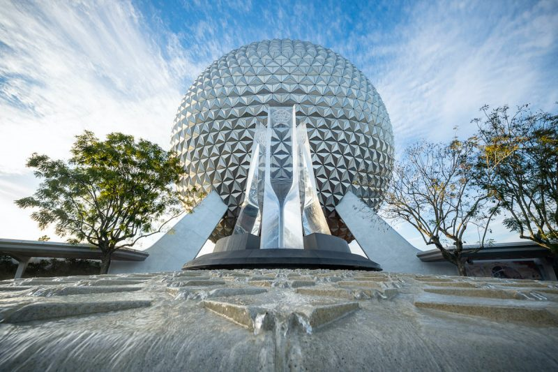 EPCOT Entrance Fountain with Spaceship Earth and water