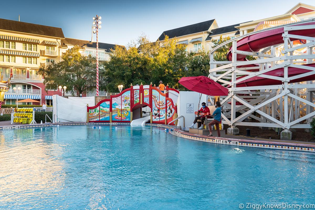 Side view of the Mickey and Friends Slide Boardwalk Inn