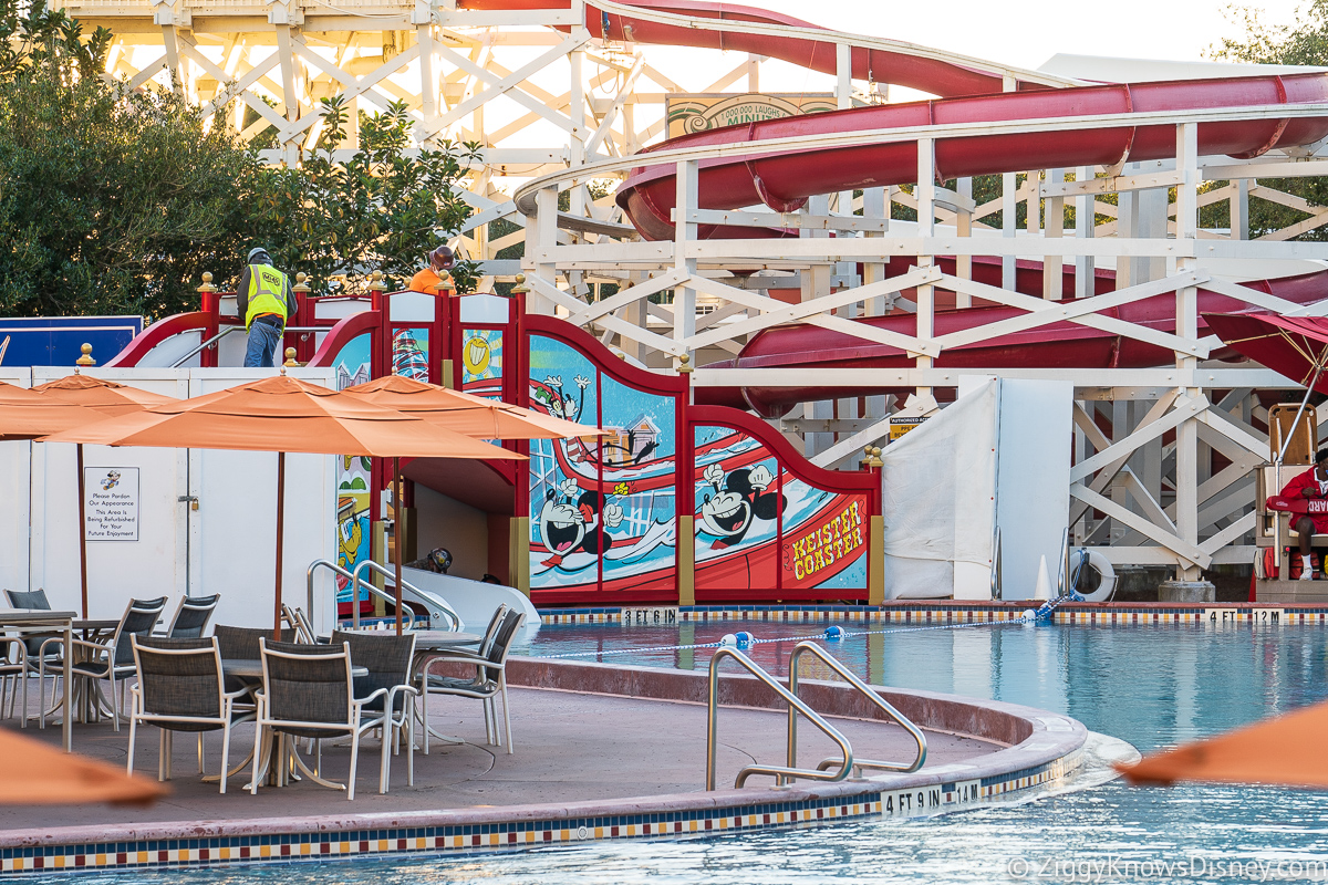 View of Mickey and Friends Slide from across the pool