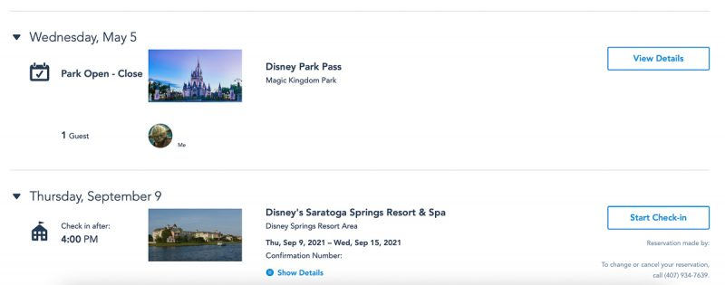 checking existing Disney Park Pass Reservations