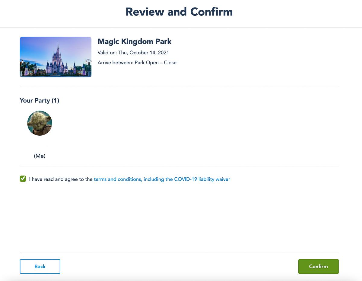 Disney Park Pass confirmation