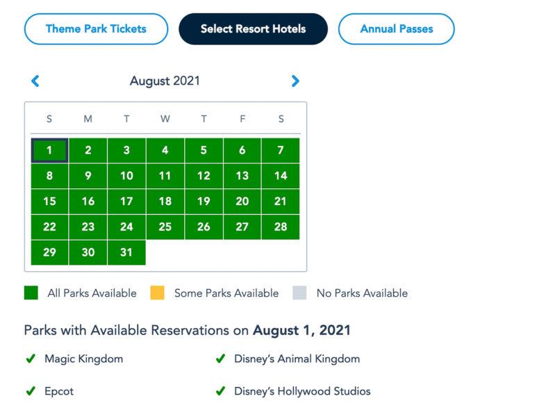 Disney Park Reservations August Resort Guests