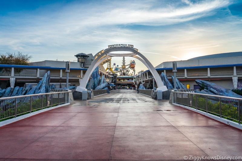 Tomorrowland entrance Magic Kingdom at rope drop