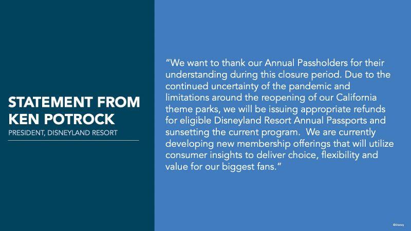 Disneyland annual passports canceled statement from Ken Potrock President