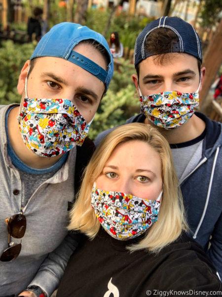 wearing face masks at Disney through 2021