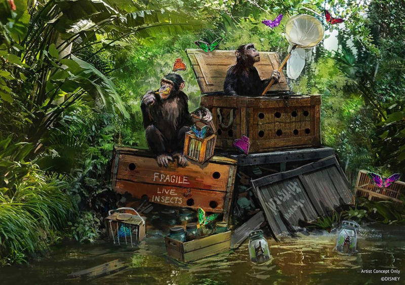 Jungle Cruise construction concept art with monkeys