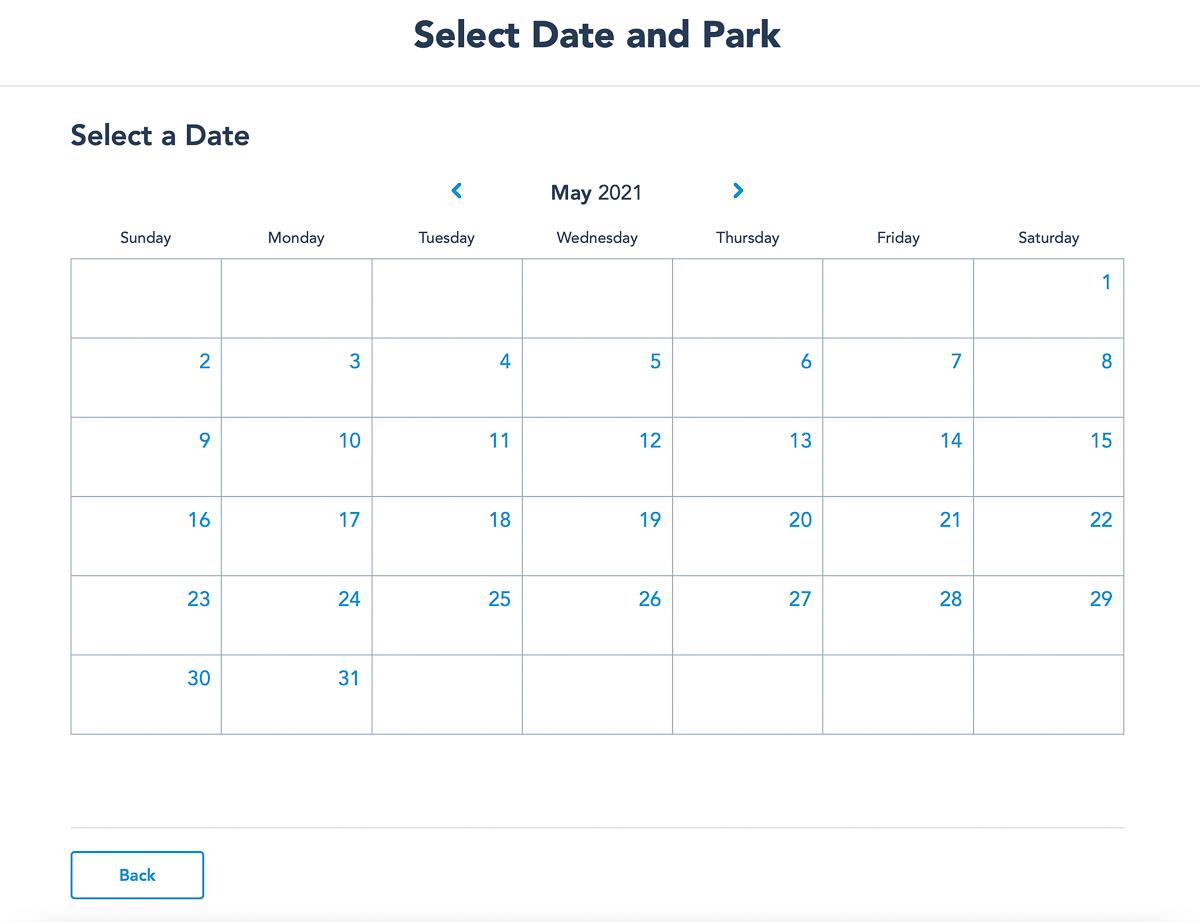 Disney Park Pass Reservation calendar making reservation