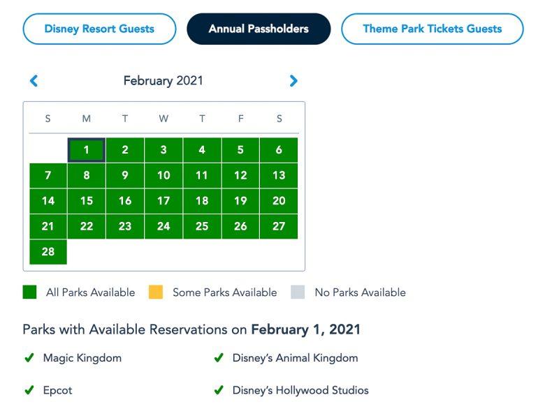 Disney Park Pass Availability Annual Pass February 2021