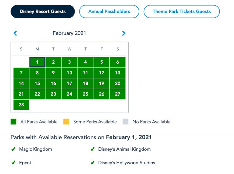 Disney Park Pass Availability Resort Guests February 2021