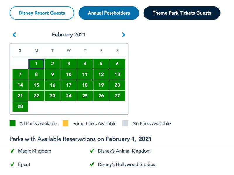 Disney Park Pass Availability Theme Park February 2021