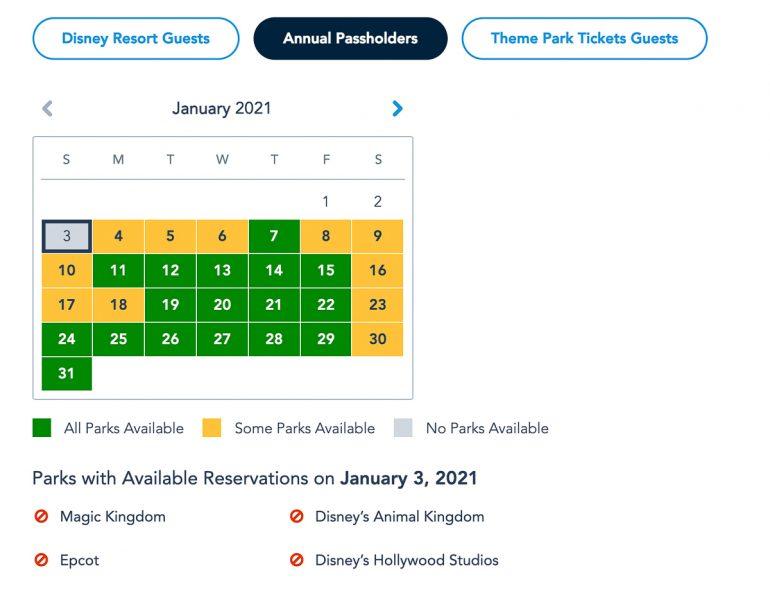 Disney Park Pass Availability Annual Pass January 2021