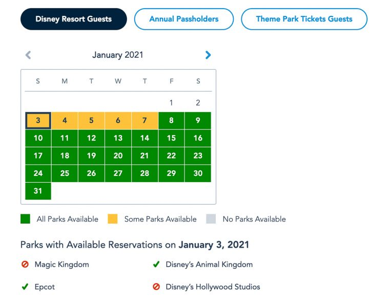 Disney Park Pass Availability Resort Guests January 2021