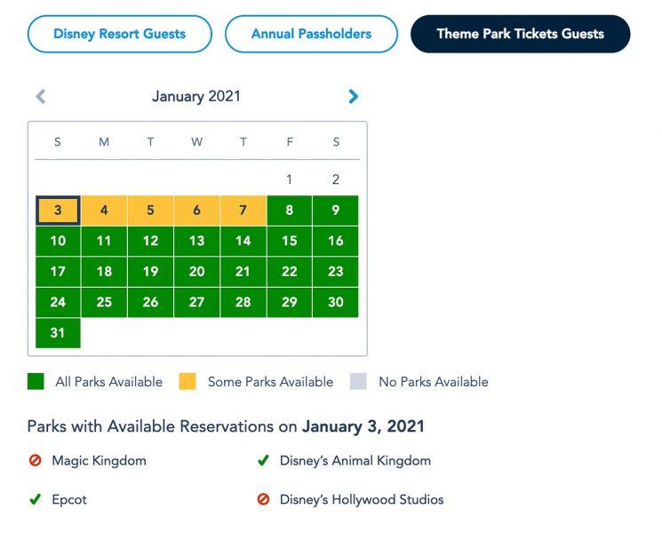 Disney Park Pass Availability Theme Park January 2021