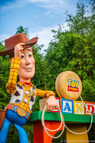 Woody statue Toy Story entrance