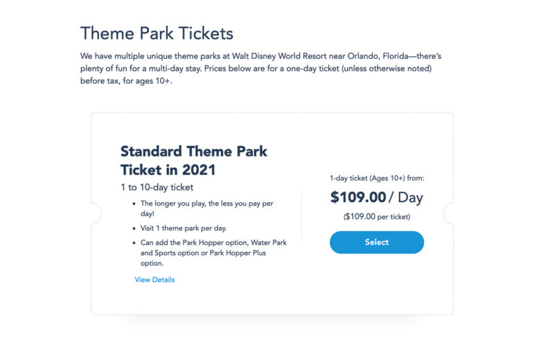 buying park tickets from Disney